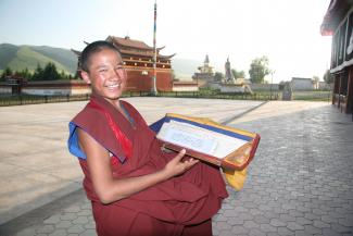 Jonang Monk with Textbook